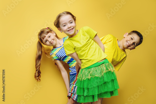 three happy kids - 167873104