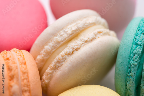 Spoed canvasdoek 2cm dik Macarons Closeup of colorful pastel macaroons. Sweet macarons.