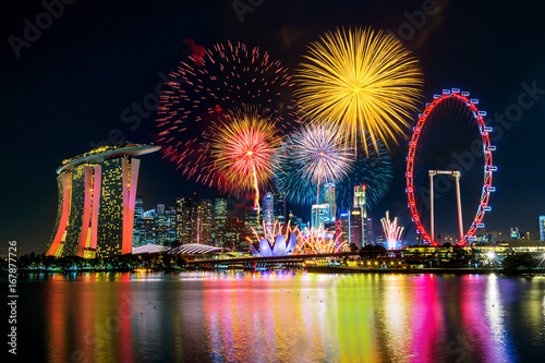Firework display in Singapore. Poster