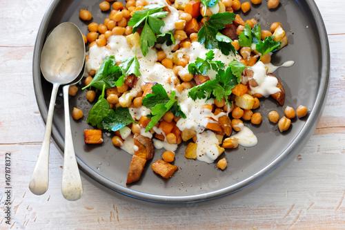 Homemade salad with peas, balanced meal