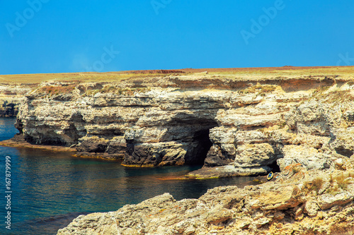 Foto op Canvas Blauw Coastline of the Black Sea, Crimea.