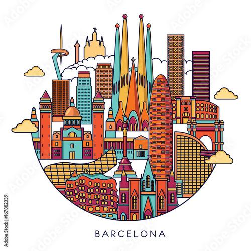Szczegółowa sylwetka panoramę Barcelony. Ilustracja wektorowa linii