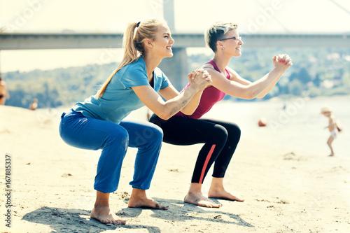 Fotobehang School de yoga Exercise in the morning