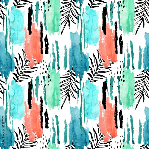 Cotton fabric Geometric watercolor shapes and tropical leaves seamless pattern.