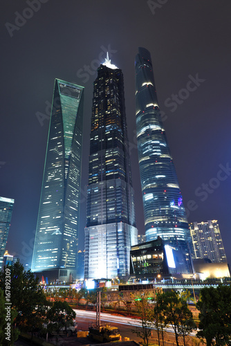Spoed canvasdoek 2cm dik Shanghai Shanghai skyscrapers scenery at night