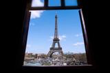 Eiffel as seen through window.