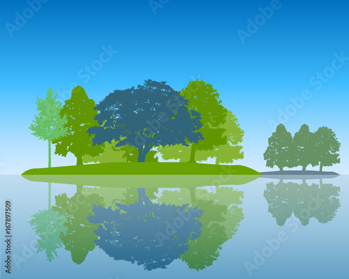 Tuinposter Blauw Trees Silhouette with Reflection in Water Flat design Vector Illustration