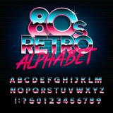 80's retro alphabet font. Metallic effect type letters and numbers. Vector typeface for your design. - 167900570