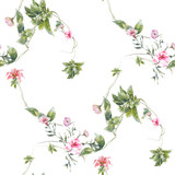 Watercolor painting of leaf and flowers, seamless pattern on white background - 167902714