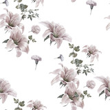 Watercolor painting of leaf and flowers, seamless pattern on white background - 167902745