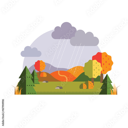 Foto op Canvas Wit Autumn landscape sticker