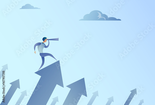 Wall mural Businessman Looking With Binocular On Financial Arrow Graph Successful Business Man Growth Increase Concept Vector Illustration