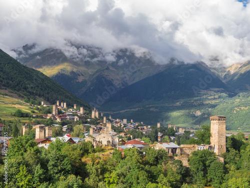 Mountain village with ancient towers. Mestia, Svaneti, Georgia © antonbelo