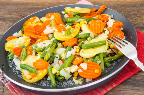 Food without meat:fried vegetables in frying pan