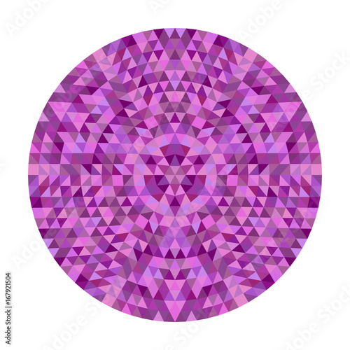Round abstract triangle kaleidoscopic mandala design - symmetrical vector pattern graphic from colored triangles