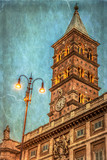 Old photo with detail of tower of the Church Santa Maria Maggiore in Rome, Italy - 167924504