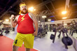 Funny bearded man at the gym