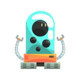 Ffunny cartoon robot crawler character with glass blue lense vector Illustration - 167929762