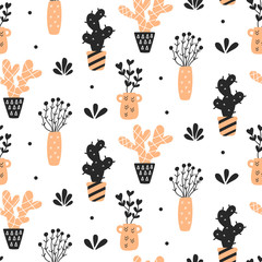 Succulents plants seamless pattern