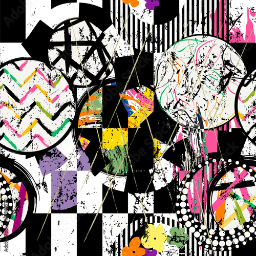 Fotobehang Abstract met Penseelstreken abstract geometric background pattern, with circles, strokes, splashes and leaves, black and white