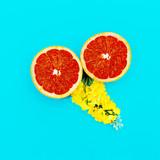 Grapefruit and Yellow Flowers Minimal art. Design