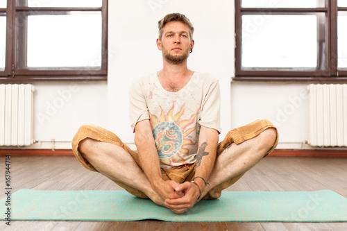 Sticker Man practicing yoga