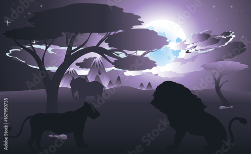 Fotobehang Purper African Night with Lion