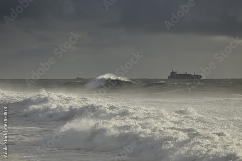 Overcast seascape with ships on the horizon