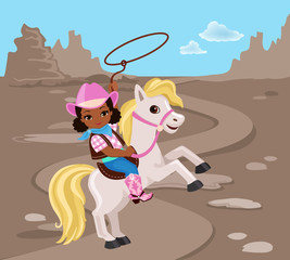 Cowgirl riding a horse with lasso.Vector illustration isolated on brown background.