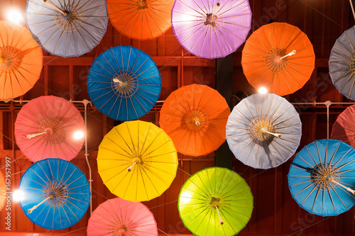 Colorful umbrella background decoration. Abstract multicolored background - 167957997