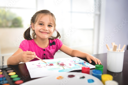 Little Girl Painting Picture