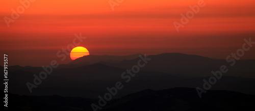 Foto op Canvas Baksteen sunset