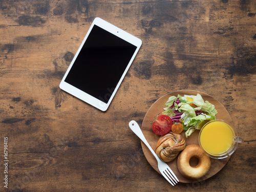 breakfast on wooden table Poster