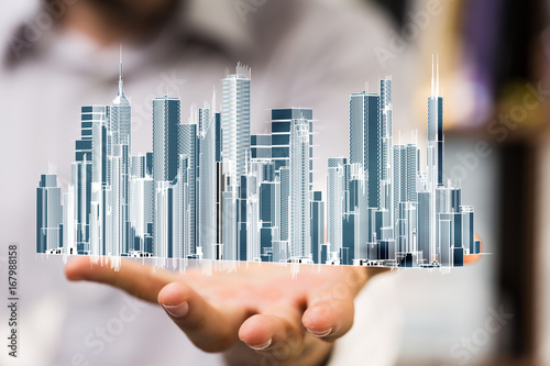Wall mural city technology