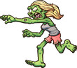 Female cartoon running zombie. Vector clip art illustration with simple gradients. All in a single layer.  - 167995379