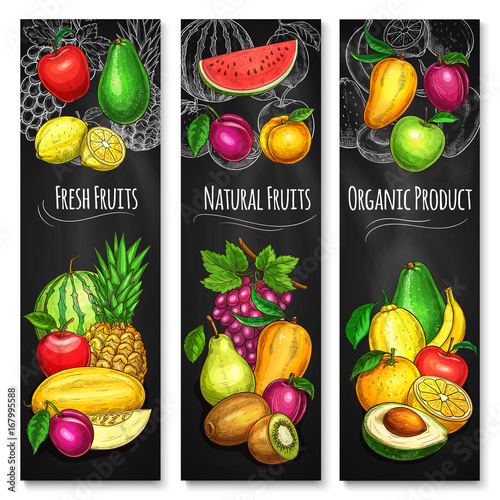 Tropical and garden fruit chalkboard banner set