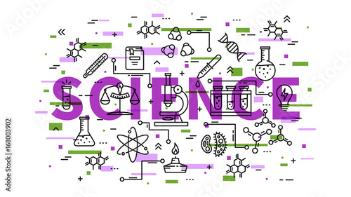 Science line art vector illustration with colorful elements. Physics, chemistry, biology elements (microscope, test-tube, book, dna chain, molecule, etc) graphic design.