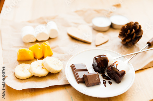 Sticker Set for fondue and chocolate with fruits