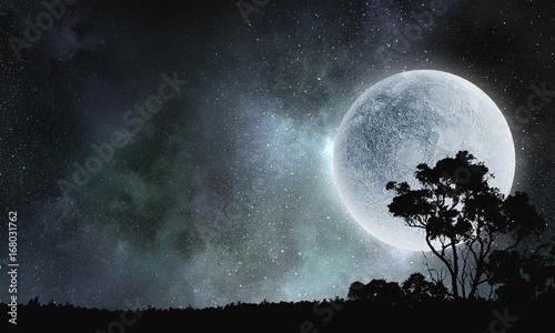 Full moon in sky . Mixed media