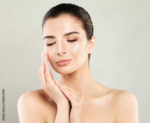 Skincare Concept. Spa Woman with Fresh Skin, Cute Face