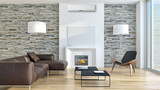 Modern bright living room with air conditioning, white wall. 3D rendering - 168043931