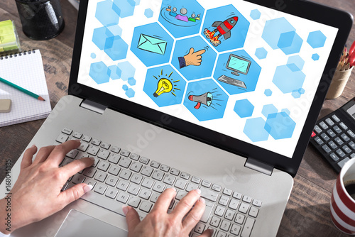Digital marketing concept on a laptop screen - 168045185