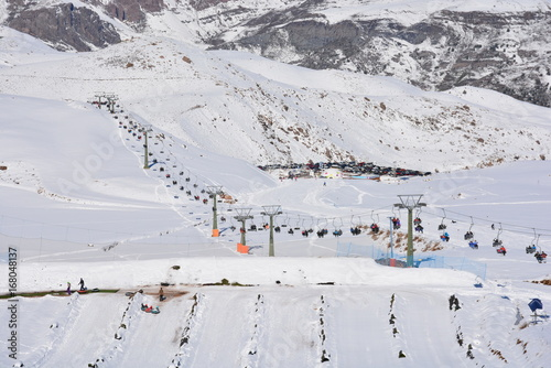Snowflakes at a ski resort in Santiago, Chile