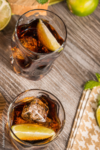 Summer cocktails with rum and cola