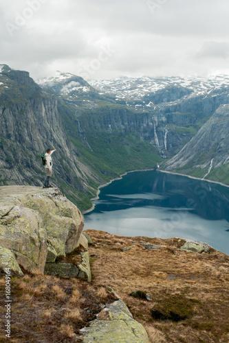 Foto op Canvas Bleke violet Trolltunga in Norway is fabulous beauty