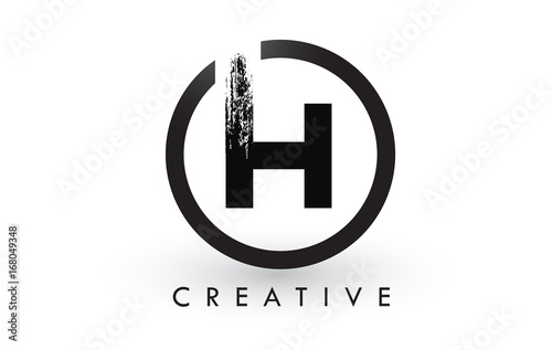 H Brush Letter Logo Design. Creative Brushed Letters Icon Logo.