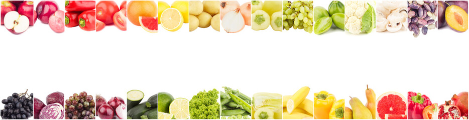 Line from different colored vegetables and fruits, isolated