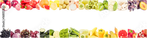 Foto op Aluminium Verse groenten Line from different colored vegetables and fruits, isolated