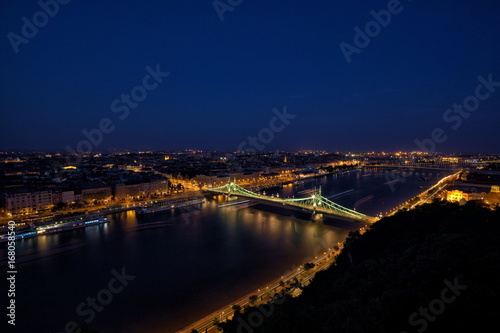 Budapest at night with Freedom Bridge.