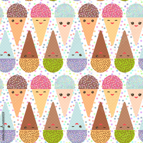 seamless pattern with three Kawaii mint raspberry chocolate Ice cream waffle cone funny muzzle with pink cheeks and winking eyes, pastel colors polka dot background. Vector